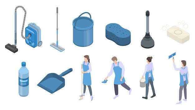 Jeu d'icônes de matériel de nettoyage, style isométrique