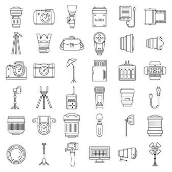 Jeu d'icônes de matériel photo