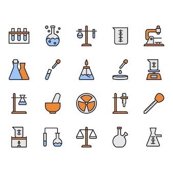 Jeu d'icônes de matériel scientifique et de laboratoire