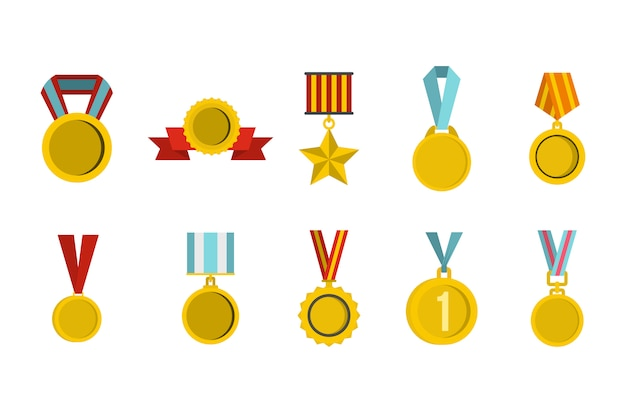 Jeu d'icônes de la médaille d'or. ensemble plat de la collection d'icônes vectorielles médaille d'or isolée