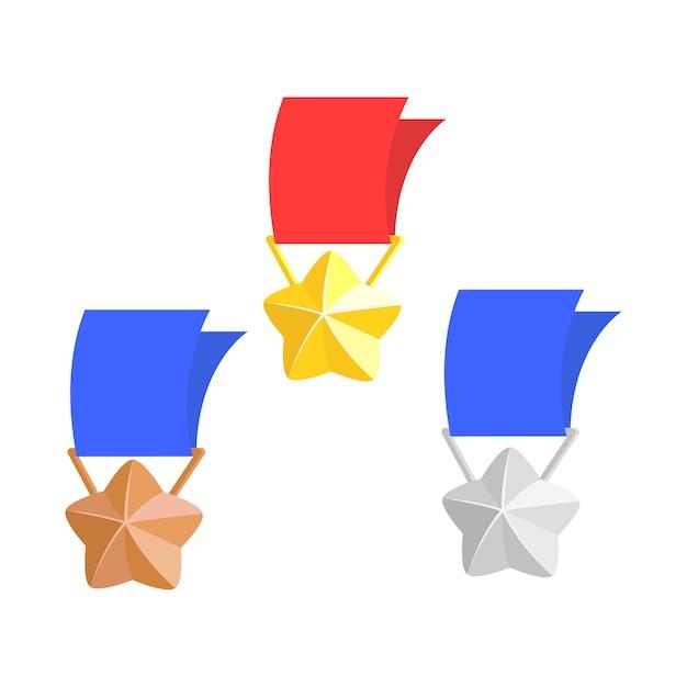 Jeu d'icônes de médailles jeu pour les jeux occasionnels