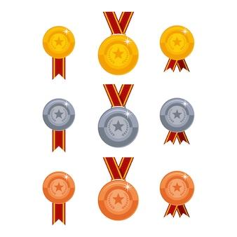 Jeu d'icônes de médailles