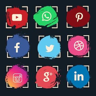 Jeu d'icônes de médias sociaux aquarelle