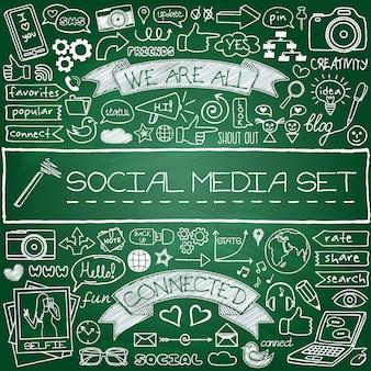 Jeu d'icônes de médias sociaux doodle