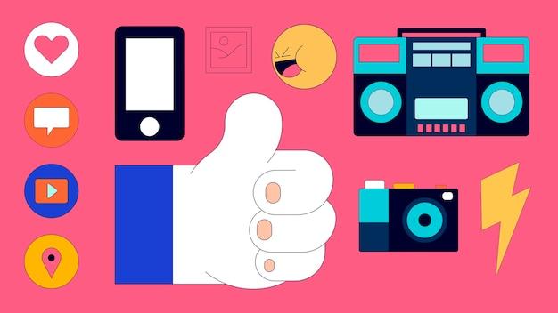 Jeu d'icônes de médias sociaux isolé sur fond rose vecteur