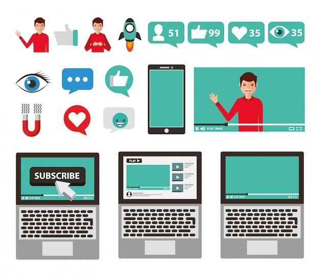 Jeu d'icônes de médias sociaux et multimédia