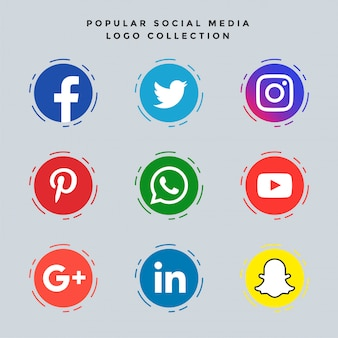 Jeu d'icônes de médias sociaux populaires