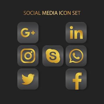 Jeu d'icônes médias sosial or