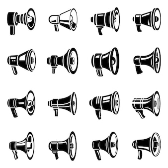 Jeu d'icônes de mégaphone haut-parleur.