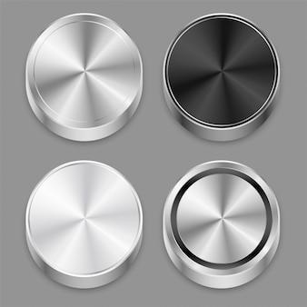 Jeu d'icônes de métal brossé 3d réaliste circulaire