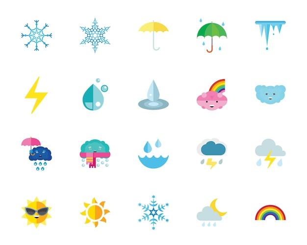 Jeu d'icônes météo et climat