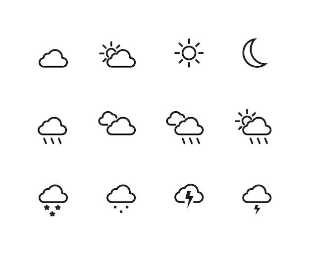 Jeu d'icônes météo décrit