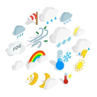 Jeu d'icônes météo, style isométrique