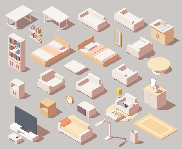 Jeu d'icônes de meubles de maison. incluez un canapé, un fauteuil, des lits, une étagère, une télévision, une table et d'autres éléments de mobilier.