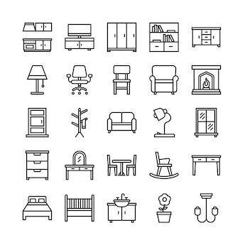 Jeu d'icônes de meubles