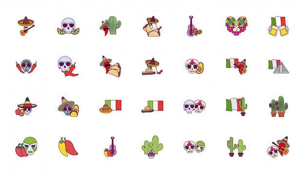 Jeu d'icônes mexicain coloré isolé