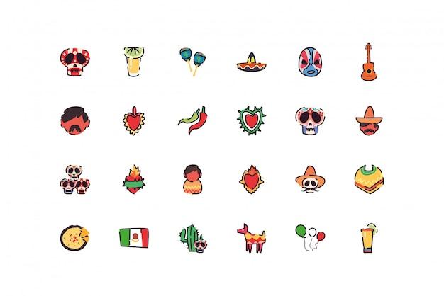 Jeu d'icônes mexicain isolé