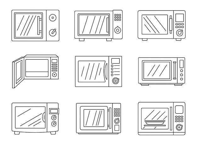 Jeu d'icônes micro-ondes modernes