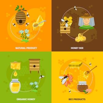 Jeu d'icônes miel et abeilles