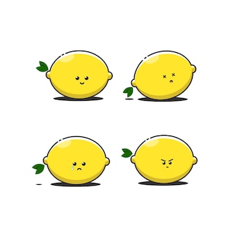Jeu d'icônes mignon citron
