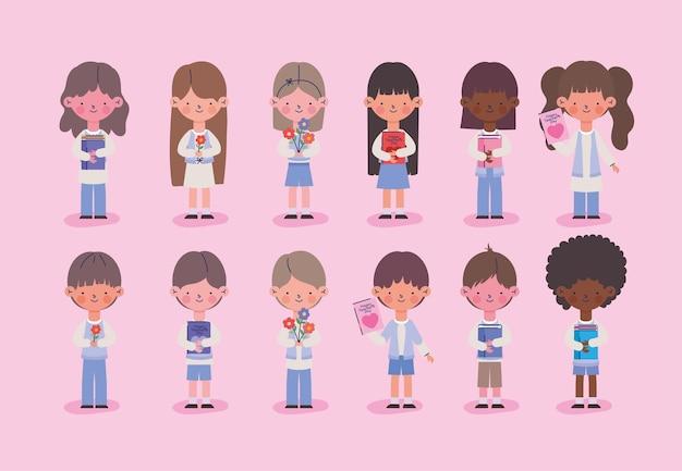 Jeu d'icônes mignonnes petites filles