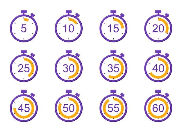 Jeu d'icônes de minuterie chronomètre avec minutes de compte à rebours