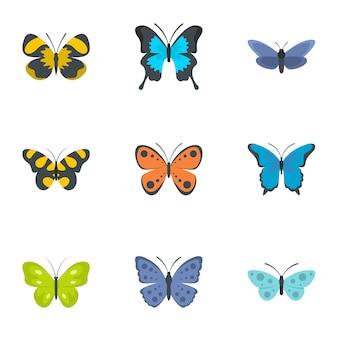 Jeu d'icônes de mite. ensemble plat de 9 icônes papillon