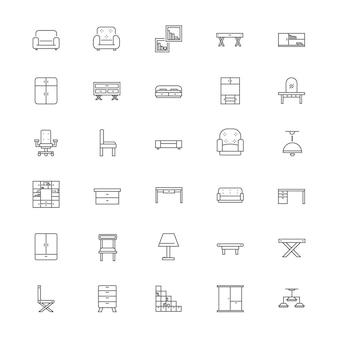 Jeu d'icônes de mobilier d'intérieur