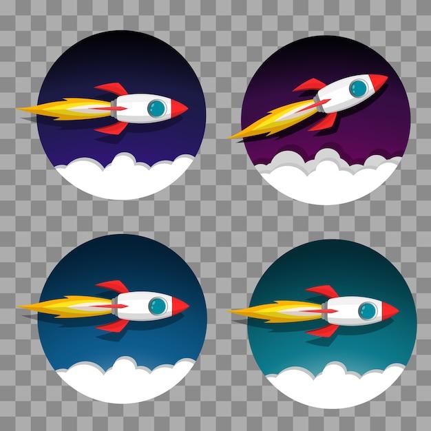 Jeu d'icônes de modèle fusée spatiale lancement et flamme sur fond de ciel et fumée de nuit.