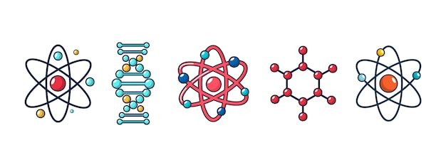 Jeu d'icônes de molécule et d'atome. jeu de dessin animé de la collection d'icônes vectorielles molécule et atome isolée