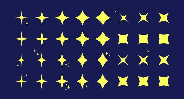 Jeu d'icônes de motif scintillant en étoile en forme d'étoile jaune collection de motifs scintillants isolée sur bleu