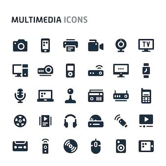 Jeu d'icônes multimédia. série d'icônes fillio black.