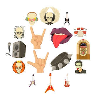Jeu d'icônes de la musique rock, style cartoon
