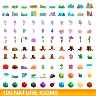 Jeu d'icônes de la nature, style cartoon