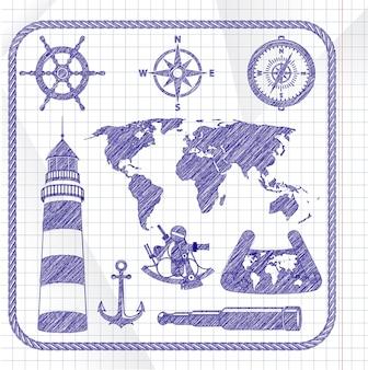 Jeu d'icônes de navigation esquissé à l'encre bleue
