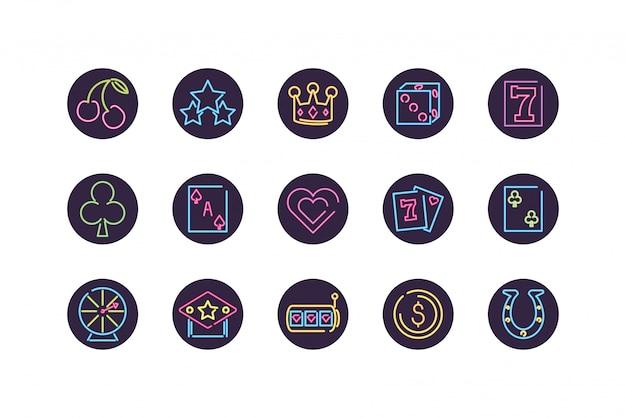 Jeu d'icônes de néon et casino à l'intérieur de la conception de vecteur de cercles