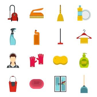 Jeu d'icônes de nettoyage de maison