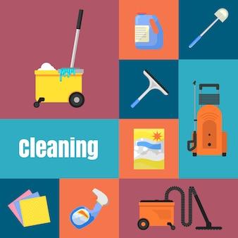 Jeu d'icônes de nettoyage