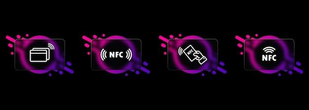 Jeu d'icônes nfc. style de glassmorphisme. icône de paiement sans contact. payer sans fil. carte de crédit. vecteur eps 10.