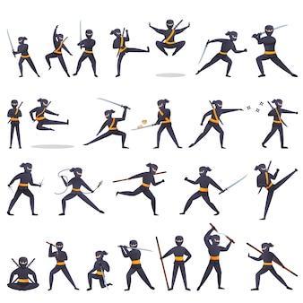 Jeu d'icônes de ninja, style cartoon