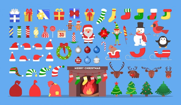 Jeu d'icônes de noël mignon. collection de trucs de décoration de nouvel an avec des bonbons et des arbres, des cadeaux et des bonbons. concept de joyeux noël. père noël en vêtements rouges. illustration