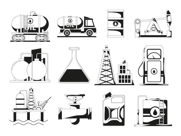 Jeu d'icônes noir monochrome pour l'industrie pétrolière