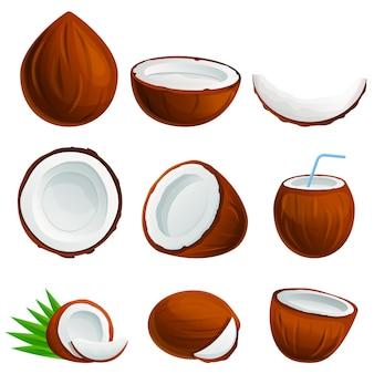 Jeu d'icônes de noix de coco, style cartoon