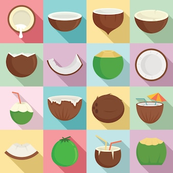 Jeu d'icônes de noix de coco, style plat