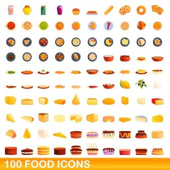 Jeu d'icônes de nourriture. bande dessinée illustration d'icônes de nourriture sur fond blanc