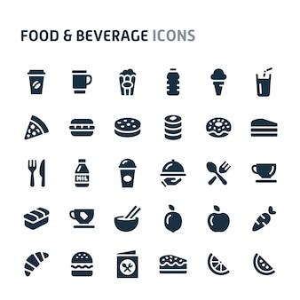 Jeu d'icônes de nourriture et de boisson. série d'icônes fillio black.