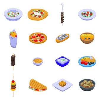 Jeu d'icônes de nourriture grèce, style isométrique