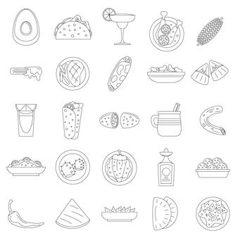 Jeu d'icônes de la nourriture mexicaine en bonne santé