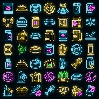 Jeu d'icônes de nourriture pour chat. ensemble de contour d'icônes vectorielles de nourriture pour chats couleur néon sur fond noir