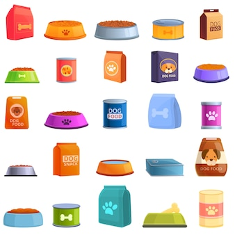 Jeu d'icônes de nourriture pour chiens. ensemble de dessin animé d'icônes de nourriture pour chiens pour le web